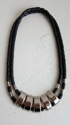 Your place to buy and sell all things handmade Beaded Necklace, Necklaces, Bracelets, Wooden Beads, Black Silver, Metal, Vintage, Jewelry, Beaded Collar