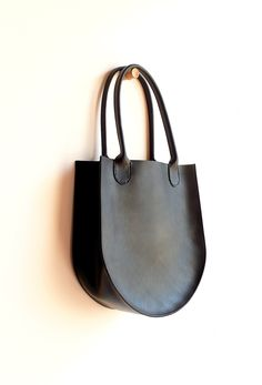 Sara Barner Leather Russell Tote - Black -13 x 14 x 5 in. -English Bridle leather -one inside pocket -hand stitched rolled handles