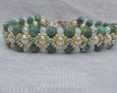 Minty Fresh bead woven bracelet by ImaBraceletgirl on Etsy