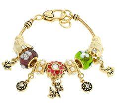 Garden Charm Bracelet BH Purple Green White Murano Beads Clear Crystal Red Flower Gold Tone Recyclebabe Bracelets http://www.amazon.com/dp/B00ZQAJFTQ/ref=cm_sw_r_pi_dp_PW3Fvb05S19QG