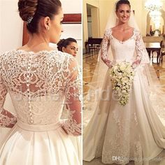 I found some amazing stuff, open it to learn more! Don't wait:http://m.dhgate.com/product/vintage-a-line-satin-lace-wedding-dress-high/393402577.html