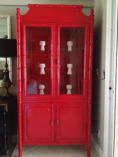 Vintage Thomasville Faux Bamboo China Cabinet by onlinechic ...