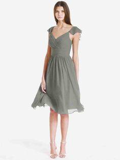 Charcoal Grey Chiffon Bridesmaid Dresses 1