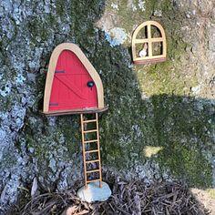 Fairy Door 'Iris' in Red Red Fairy door Fairy door | Etsy Fairy Dust, Fairy Tales, Fairy Doors On Trees, Tooth Fairy Doors, Door Knobs, Gnomes, Fairies, Hobbit Land, Drawing Quotes