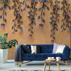 American retro vine stereo floral wall papel de parede wall papers home decor Silk Wallpaper, Pattern Wallpaper, Study Bed, Paper Houses, Floral Wall, Home Wedding, 3d Wall, Canvas Wall Art, Love Seat