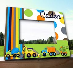 Bright Construction Trucks 5x7 Personalized Photo PICTURE FRAME for Kids Bedroom Baby Nursery on Etsy, $35.00