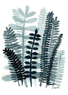 Fern Fronds No.08  Original small ink painting by Chelsea H-A www.ChelseaH-A.com