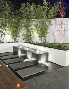 Raised Fish Pond Ideas From modern concrete to river rock koi fish filled, discover the top 50 best backyard pond ideas. Outdoor Water Features, Water Features In The Garden, Modern Water Feature, Modern Garden Design, Contemporary Landscape, Contemporary Bedroom, Contemporary Furniture, Contemporary Wallpaper, Modern Pond