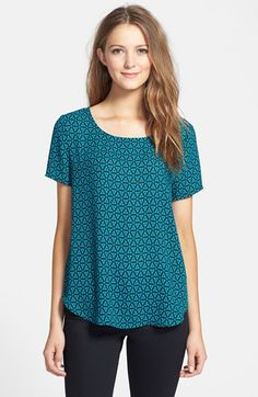 Pleione Pleat Back Woven Print Top available at #Nordstrom