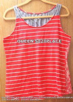 4795079cc3e Sonoma Womens Size L Large Red Denim Striped Floral Sleeveless Tank Cotton  Top