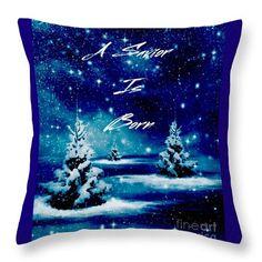 Holiday Christmas Greeting Card A Savior Is Born Stars Trees Snow Black Blue White Silver Breena Briggeman Throw Pillow featuring the photograph A Savior Is Born by Breena Briggeman