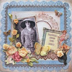 Beauty From the Past ~ Gorgeously embellished heritage portrait page in a fresh, springtime color palette. Love the bronze punched border strip created with Martha Stewart's 'Garden Gate Trim' Deep Edge Punch.