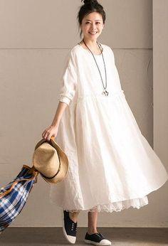 66b7462bca816 White Linen Summer Casual Plus Size Dresses For Women Pleated Dresses