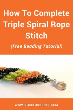 How To Complete Triple Spiral Rope Stitch Try this free Triple Spiral Rope tutorial to create your own beaded jewelry like bracelets or necklaces. This beading pattern is great for beginners. via Bead Club Lounge Beading Patterns Free, Beaded Bracelet Patterns, Bead Patterns, Mosaic Patterns, Knitting Patterns, Weaving Patterns, Bracelet Designs, Embroidery Patterns, Free Beading Tutorials