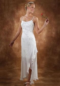Discount A-line Spaghetti Straps Ivory Chiffon Embroidery Asymmetrical Zipper Up Wedding Dresses For Brides/Reception Dresses TWD9926