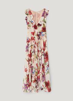 04174e9f5618 Dlhé hodvábne šaty s kvetinami - Šaty a overaly - Oblečenie - Uterqüe  Slovensko Letné Šaty