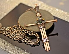 Handmade Three Nail Copper Cross with crystals and beads