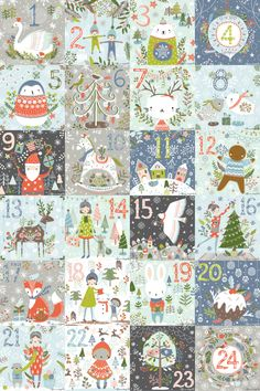 Advent calendar illustrations by Flora Waycott Christmas Countdown, Noel Christmas, Winter Christmas, Vintage Christmas, Christmas Crafts, Christmas Decorations, Illustration Noel, Christmas Illustration, Illustrations