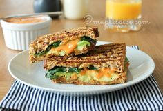 Pan-grilled Avocado, Baby Spinach and Basil with Roasted Red Pepper Almond Mayo #vegan