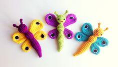 Recipe for crochet butterfly Crochet For Kids, Diy Crochet, Crochet Crafts, Crochet Baby, Crochet Children, Crochet Animal Patterns, Stuffed Animal Patterns, Crochet Animals, Crochet Amigurumi