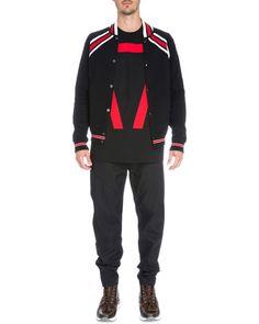 GIVENCHY Striped Cotton Varsity Jacket, Black/Red. #givenchy #cloth #
