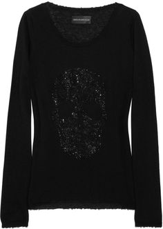 Zadig & Voltaire Black Miss Bis Crystal Skull Cashmere Sweater #black #knit #style