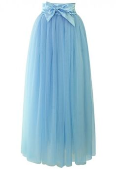 Amore Maxi Tulle Prom Skirt in Sky Blue - Skirt - Bottoms - Retro, Indie and Unique Fashion