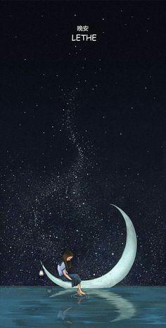 Sitting under the stars moon little girl Night Sky Wallpaper, Scenery Wallpaper, Galaxy Wallpaper, Moon And Stars Wallpaper, Dream Drawing, Boat Drawing, Animes Wallpapers, Cute Wallpapers, Moon Sketches