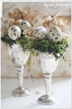 A little green moss, some speckled eggs & a bit of hydrangea in silver goblets = Spring/Easter Decor