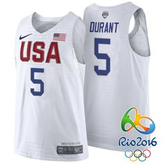 Rio 2016 Olympics USA Dream Team #5 Kevin Durant White Authentic Jersey