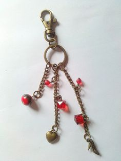 Pretty bag/purse charm or keyring with bronze by KaisCards on Etsy, £4.00