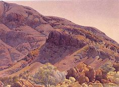 Western MacDonnells by Albert Namatjira Aboriginal Man, Aboriginal History, Landscape Art, Landscape Paintings, Watercolor Paintings, Watercolour, Landscapes, Australian Painting, Australian Artists