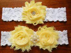 Yellow wedding garter by BloomsandBlessings