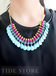 #Chain #Necklace #with Gorgeous Blue Big Beads with Colorful Little Beads Sweater Chain