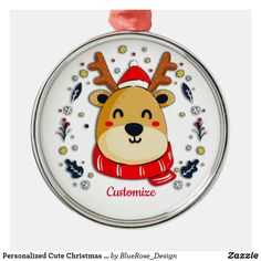 Personalized Cute Christmas Reindeer Metal Ornament Holiday Cards, Christmas Cards, Christmas Decorations, Christmas Ornaments, Family Memories, Christmas Items, Holiday Outfits, Holiday Treats, Christmas Card Holders