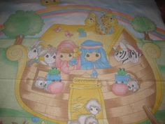 precious moments panels | PRECIOUS MOMENTS FABRIC PANEL-NOAHS ARK-SO CUTE! by themachinequilter