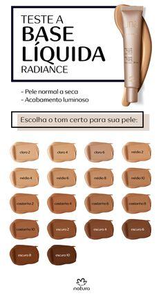 A Base líquida radiance de Natura Una é indicada para pele normal a seca. Com acabamento luminoso, deixa a pele mais jovem por conta do complexo lift radiance, que melhora a firmeza e a elasticidade da pele, deixando-a mais jovem. Escolha o tom certo para você entre os 18 possíveis.