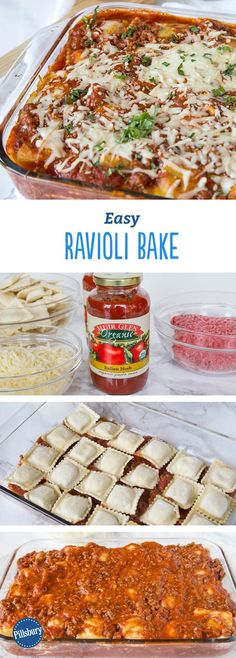 Easy Ravioli Bake: Make dinner easy with this cheesy casserole that combines ground beef and frozen ravioli! It's just four simple ingredients plus a garnish of fresh basil, and it's ready to serve in an hour.