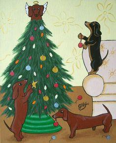 NEPHEW Quality Christmas Card Dogs in Window Design