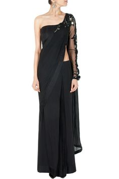 Black one shoulder embellished sari gown BY GAURAV GUPTA. Shop now at perniaspopupshop.com #perniaspopupshop #clothes #womensfashion #love #indiandesigner #gauravgupta #happyshopping #sexy #chic #fabulous #PerniasPopUpShop