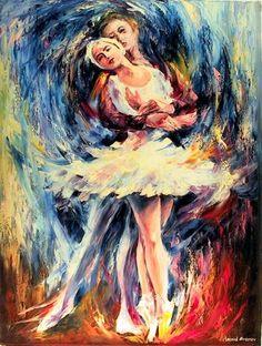 Poesia Visual - Arte e Imagem: Leonid Afremov Ballet Painting, Dance Paintings, Ballet Art, Oil Painting On Canvas, Ballerina Art, Ballet Dancers, Poesia Visual, Art Watercolor, Contemporary Artwork