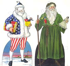 Patriotic Santa is from 1863 wartime newspaper (notice army camp in background).  Green Santa is 1830s or 40s, from a series by Tom Tierney.