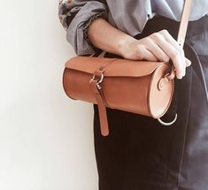 Roll top leather cylinder cross body bag/small crossbody bag/tool bags for women/tool bag/mini bucket bag for women/bag minimalist women #smallcrossbodybag