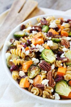 Brown Butter Pasta Salad with Sweet Potatoes & Brussels Sprouts