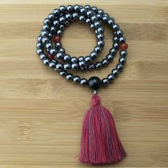 Hematite Mala Beads Necklace with Carnelian & Black Onyx