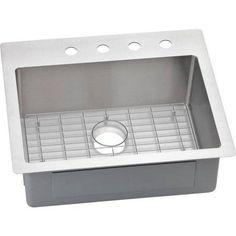 Elkay ECTSR25229BG4 Crosstown Stainless Steel Single Bowl Dual-Mount Sink Kit with 4 Faucet Holes