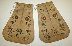pair of 1796 embroidered linen pockets