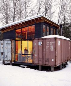 Two containers + roof = cabin.