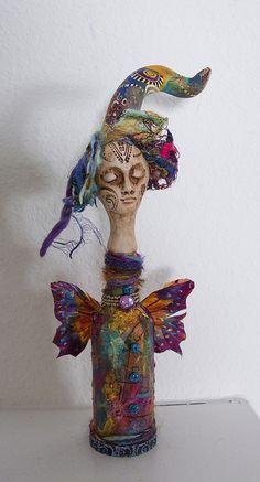 Wine Bottle Doll by triciadewey, via Flickr