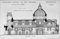 Section of the proposed Brompton Oratory, London